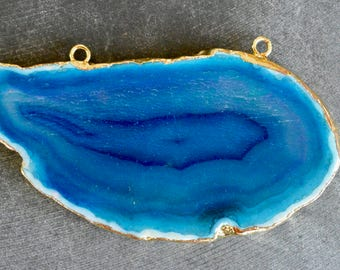 86MM Gold Edged Agate Pendant Connector, 24K Gold, Gold Electroplate, 86x43x6mm Agate Slice Pendant, Agate Geode Slice, Turquoise Blue