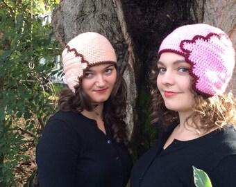 Crochet Flapper Cap, pink or peach