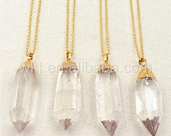 WT-N872 Holiday Gift!!! Amazing Natural Clear Crystal Quartz Point Necklace,Charm Boho Quartz With Gold Cap chain in 18 inches Necklace