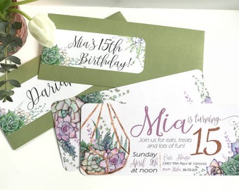 Terrarium Making Party Invitation and Wrap around address label - PRINTABLE - Succulent Theme Party