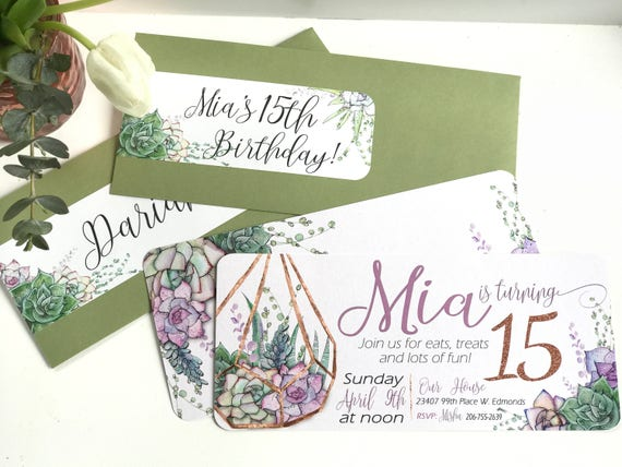 terrarium making party invitation and wrap around address label