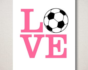 LOVE SOCCER Sports Print (Featured color: Flamingo Pink--choose your own colors)