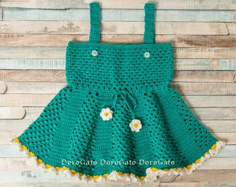 Summer baby dress, crochet Daisy Baby dress, princess pinafore dress, Infant Pinafore, Green Dress, Girl Clothing, Frilly dress 1-2 year old