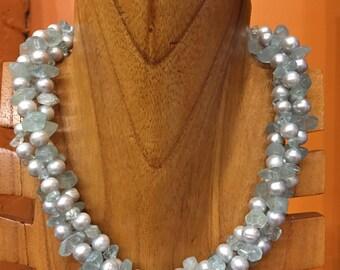 Gem Stone Necklace Aquamarine Necklace