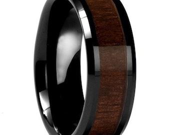 Custom Dark Wood Inlay Ring | Men's Ring