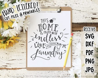 Laundry SVG Cut File,  Endless Love and Laundry Cutting File, Hand Lettered Silhouette Cricut Download, Original Art Vinyl Stencil DIY Craft