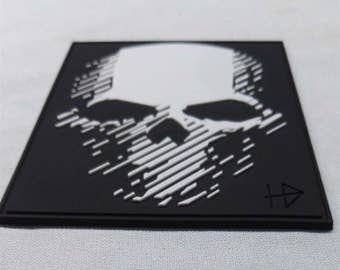 shoulder wildlands ghost skull pvc patch with hook and loop backing  3x4 inches