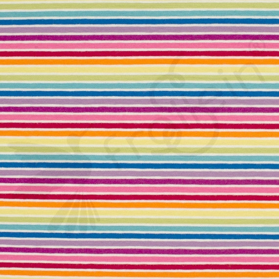 Jersey Fabric, Rainbow stripes, cotton knit fabric, OekoTex, cotton jersey, rainbow fabric, yarn dyed stripes, fabric by half yard