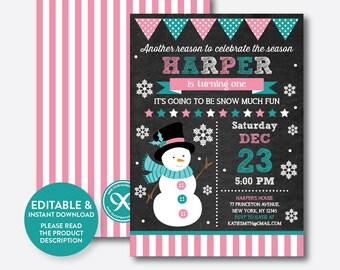 Instant Download, Editable Snowman Birthday Invitation, Snowman Invitation, Christmas Birthday Invitation, Winter Invite Chalkboard(CKB.193)