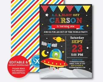 Instant Download, Editable Alien Birthday Invitation, Alien Invitation, Outer Space Invitation, Alien Party Invitation, Chalkboard (CKB.68B)