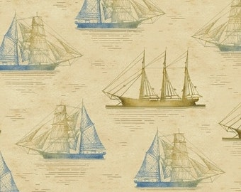 Tall Ships - Nautical  Beige and Tan Neutral Ship Sailboat fabric - by the half yard - Windham Fabrics - 100% cotton