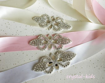 Crystal Rhinestone Satin Sash Christening Sash Flower Girl Bridesmaid Sash HANDMADE