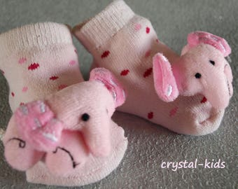 SALE **Stunning Baby Girls Reborn Pink Elephant Rattle Socks Bootee Slipper Shoes 0-6 months ** LAST PAIR **