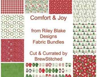 Christmas Fabric Bundle - Fat Quarter and Half Yard Bundles - Comfort and Joy - Riley Blake Designs - Christmas Fabric - 7 FQ or Half Yds