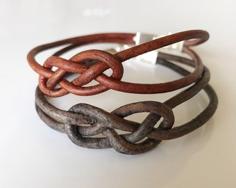 Leather Bracelet- Celtic Knot Leather Bracelet, Leather Bracelet, Eternity Knot Bracelet, Love Knot Bracelet, Celtic Love Knot Bracelet