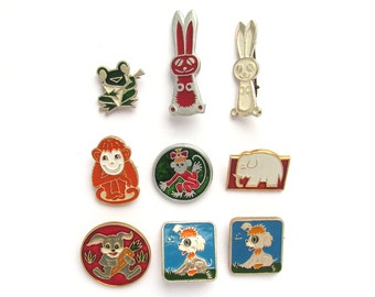 Animals, Children's badges, Pick from set, Frog, Monkey, Hare, Fauna, Vintage collectible badge, Soviet Vintage Pin, Soviet Union, USSR