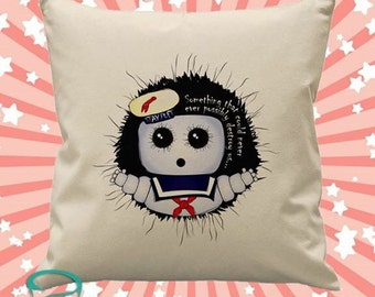 Ghostbusters inspired Stay Puft Marshmallow Man cushion cover