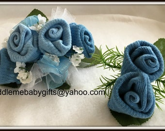 Baby Shower Gift Baby Sock Corsage Baby Shower Baby Sock Corsage and Boutonniere