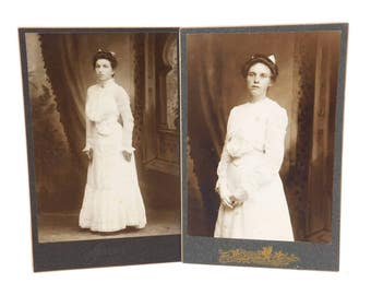 Victorian Women Cabinet Cards, Women in White Tea Dresses, Circa 1880's, Victorian Cabinet Cards, Mounted on Black Card Stock