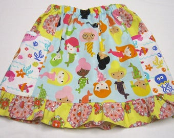Girls Short Cotton Mermaid Skirt With Big Pockets and Ruffle in Sizes 18 months   5  and  6