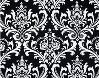 "FABRIC SHOWER CURTAIN Premier Traditions Damask Black white Print  72"" x 75"" (standard size)"