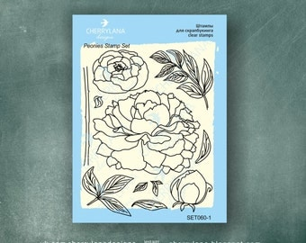Peonies Set of Stamps Clear Photopolymer, Clear Stamps, Clear Rubber Stamps, Flower Stamp Set