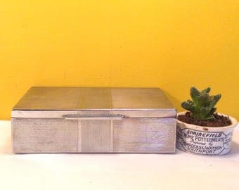 Art Deco metal jewellery box, metal covered trinket box/ jewellery box, memory box, gifts for her, gifts for him.