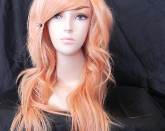 Princess Peach / Honey Strawberry Peach Blonde / Long Curly Layered Wig