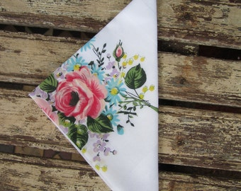 Vintage Ladies Handkerchief - Pink Roses - Floral - Wedding - Bride