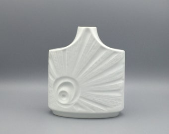 "Edelstein Bavaria 1247 / 2 white Porcelain decor : Sunrise Panton ,,Op Art"" vase Modernist Mid Century  Germany."