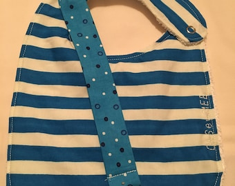 Coordinating Terry Cloth Bib and Pacifier Clip - blue and white horizontal stripes
