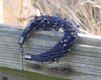 Linen Bracelet Linen Fiber Bracelet Natural Raw Jewelry Bead Bracelet Linen Cord Bracelet Minimalist Jewelry Beach Jewelry Eco Style Jewelry