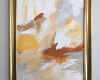 """Large 22"""" x 28"""" Abstract Gray, Copper, Yellow & White Painting"""