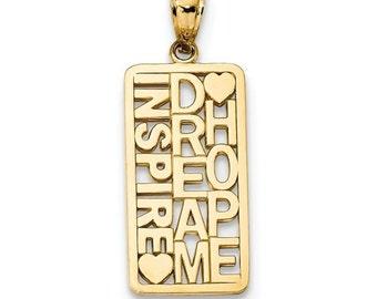 14K Yellow Gold Inspire Dream Hope Pendant Charm LKQK5844