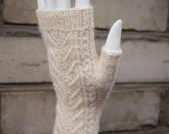 Hand knitted fingerless mittens