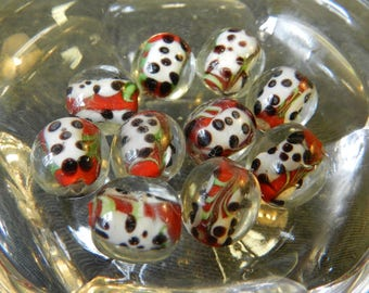 Set of 10 Pandas on Red Encased in Clear Round Lampwork Glass Beads - 12mm - Asian Style - Handmade