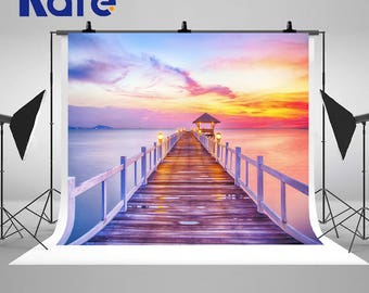 Beautiful Sunset Wooden Bridge Bright Lights Photography Backdrops Seaside Seamless Photo Backgrounds for Nature Landscape Studio Props