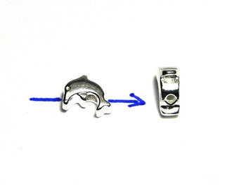 2 pc. Solid Sterling Silver Dolphin Beads 8 mm