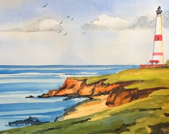 California Lighthouse painting watercolor