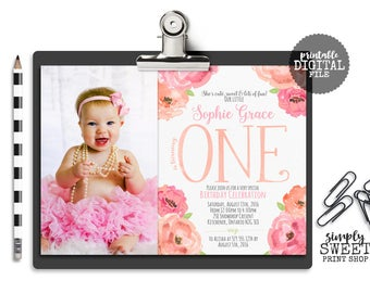 Flower Girl First Birthday Party Invite Invitation Picture Photo 1st One Flower Floral Pink Peach Coral Cute Sweet Fun Pretty Garden Country