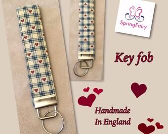 Fabric key fob, wrist strap, key chain, key holder, key ring, luggage tag