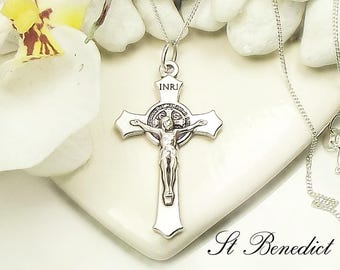 Girl's Boy's St Benedict Necklace St Benedict Crucifix  ideal Catholic gift Communion Gift Confirmation Gift RCIA Gift