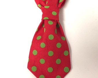 Dog neck tie, over the collar neck tie, Christmas neck tie, red neck tie, polka dot neck tie, dog gift, Christmas gift