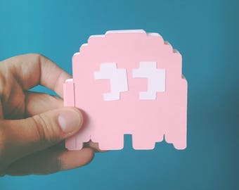 Blank Pinky Ghost Pocket Notebook, Pink PacMan Ghost shaped small journal