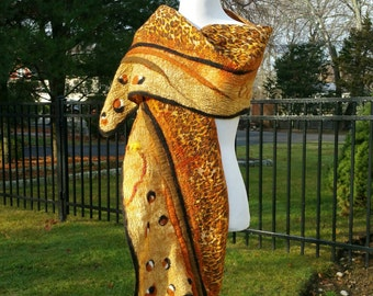 Nuno Felted Scarf in Black and Tan with Leopard Animal Print. Cashmere Soft Silk and Wool Shawl. Large Wearable Art Wrap.  Tribal Scarf.