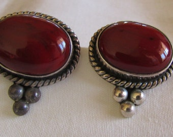 Sterling Silver Red Stone Earrings from Mexico