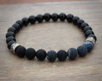 Black Beaded Mens Bracelet