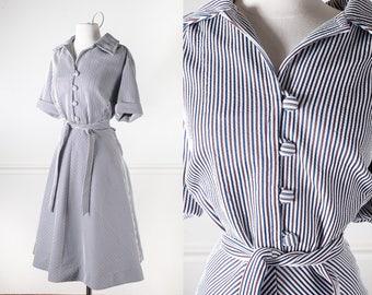 Striped Fit and Flare Dress, 50s Style Dress, Plus Size Dress, Button Down Shirt Dress, Midi Dress, 60s dress, 70s dress XL rockabilly dress