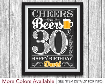 "Cheers and Beers Party Sign • Printable 30th Birthday Party Decorations • Any Age • 8""x10"" Welcome Sign • DIY Digital File"