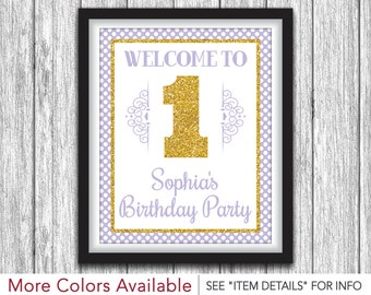"""Lavender and Gold Birthday Party Sign - Printable First Birthday Party Decorations - 8""""x10"""" Welcome Sign - DIY Digital File"""